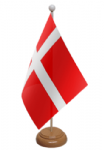 Denmark Desk / Table Flag with wooden stand and base
